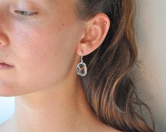 Clear Quartz Dangle Earrings/ Stone Earrings/ Large Hanging Earrings