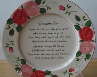 Vintage Large Decorative Floral Plate featuring Grandmother Poem