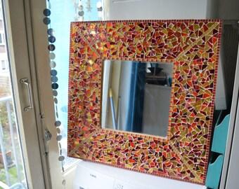glass mosaic mirror 65x65cm