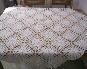 Knitted crochet tablecloth