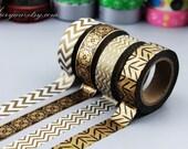 4 Rolls Washi Tapes - Japanese Washi Tape - Masking Tape - Deco Tape - Washi Paper - Filofax - bronze style