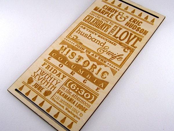 Wood Wedding Invitation Laser Cut Invite Wedding by Cropscotch