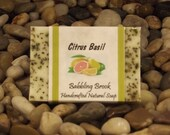 Citrus Basil handmade soap, natural ingredients, moisturizing, mildly exfoliating