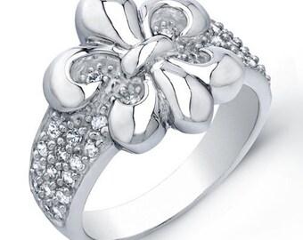 Rhodium-plated Sterling Silver Fluer de Lis Ring - AZDBR844DZ
