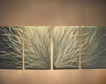 Metal Wall Art Decor Abstract Aluminum Contemporary Modern Sculpture Hanging Zen Textured - Golden Radiance