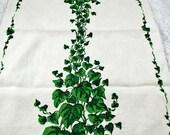 Vintage Cotton LinenTOWEL - Kitchen Towel - 1950s - 1950s Collectors' Linen Towel - Green Vines - Spring Kitchen Lot D #101
