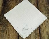 Vintage White Linen Handkerchief - Hankie - Bridal Hankie - Wedding Hankie - B1