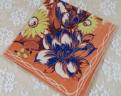 "Vintage Hankie - Handkerchief - ""Hanky"" - Autumn Colors Burnt Orange Blue Green - For a Gift or Sewing, Crafting, Quilting - Z-44"