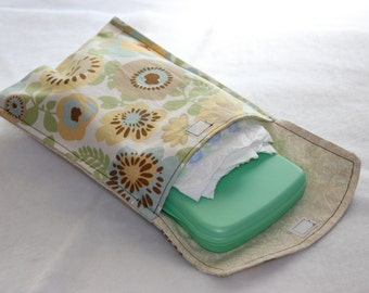 Diaper and Wipe Clutch - Brown, Blue and Green Flowers