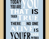 Dr Suess Childrens YOU are YOU modern print poster typography