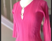 sweater ladies women sz s/m pink w/slit top ring detail 3/4 length sleeve One Girl Who