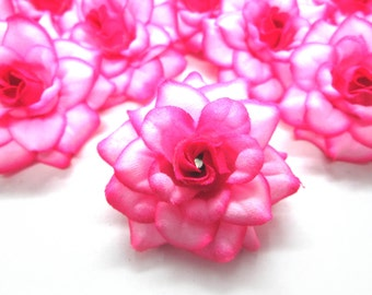 12 Hot Pink Edge mini Roses Heads - Artificial Silk Flower - 1.75 inches - Wholesale Lot - for Wedding Work, Make Hair clips, headbands