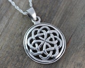 Sterling silver Celtic Pendants, Celtic jewelry, Celtic Knot Friendship Necklace. Mens Leather & sterling silver chains, Irish jewelry. 065