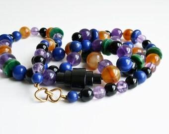 Kai-Yin Lo necklace, semi precious stones, black onyx, malachite, vintage