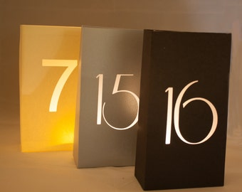 Luminary Table Numbers (5) Perfect for Weddings or Special Occasions