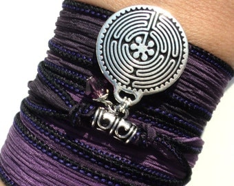 Labyrinth Silk Wrap Bracelet Yoga Jewelry Bohemian Arm Band Purple Necklace Maze Earthy Unique Gift For Her or Him Under 50 Item K78