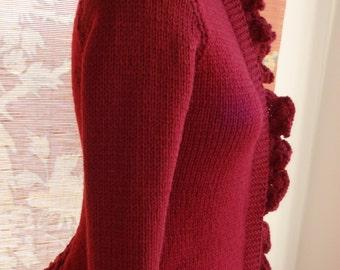 Romantic Victorian Style Handknit Cardigan Sweater Vintage Steampunk Goth Paris Valentines Holiday