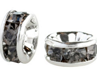 Package of 20 Silver Plated 4mm Rondelles in Black Diamond Grey (sku 418 - CCR-SP-4-BD)
