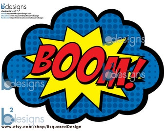 Superhero Party Signs • Boom, Pow, Zap, Bam, Pop • 8.5 x 11 • DB color • INSTANT DOWNLOAD