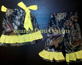 MOSSY OAK Camo camouflage top and matching pants with yellow ruffles baby girl 0 3 6 9 12 18 24 months 2t 3t 4t 5t