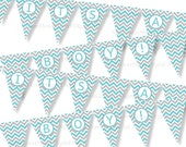 Chevron Turquoise Gray Banner bunting blue grey aqua pennant flags printable digital download DIY IT's A BOY baby shower decoration party