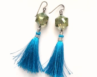 Teal Sage Crystal And Tassel Earrings Sterling Silver Ear Wires Silk Tassels Elegant Boho Bohemian Chic Beautiful Dramatic Party Earrings