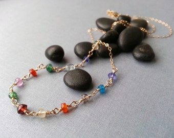 Colorful Gemstone Beaded Necklace Rosary Chain Goldfill Semiprecious Gemstones Modern Minimalist Pink Sapphire Red Garnet Aquamarine Amethys