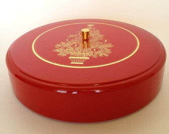 Otagiri Lacquerware Lidded Box Container Red Gold Box Christmas Tree Vintage Made in Japan
