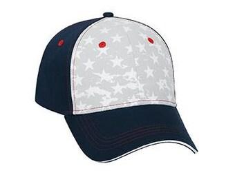 Custom American Flag Stars Red White Blue on Black Twill Trucker 6 Panel Hat Navy