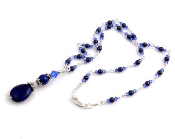 Lapis Lazuli Beaded Pendant Necklace, Wire Wrap Necklace, Beaded Necklace, Women's Jewelry, Gifts for Her, Wedding Jewelry, Resort Wear