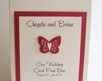 Personalised Handmade Butterfly Wedding Post Box