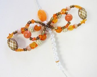 beaded screen saver bug insect dragonfly butterfly suncatcher orange