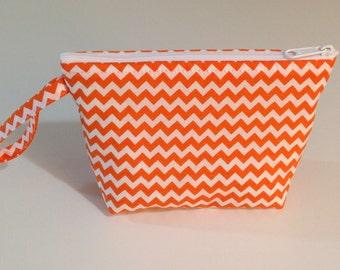 Orange Chevron Make Up Bag  - Accessory - Cosmetic Bag - Gift