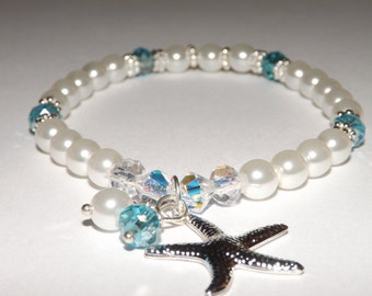 Swarovski Starfish Something Blue Brides Bridesmaids Bracelet Turquoise Jewelry White Blue Pearl Crystal Beaded Hand Jewelry
