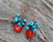 Turquoise & Coral Earrings, Turquoise Cluster Earrings, Turquoise Boho Earrings, Southwestern Jewelry, Turquoise Jewelry