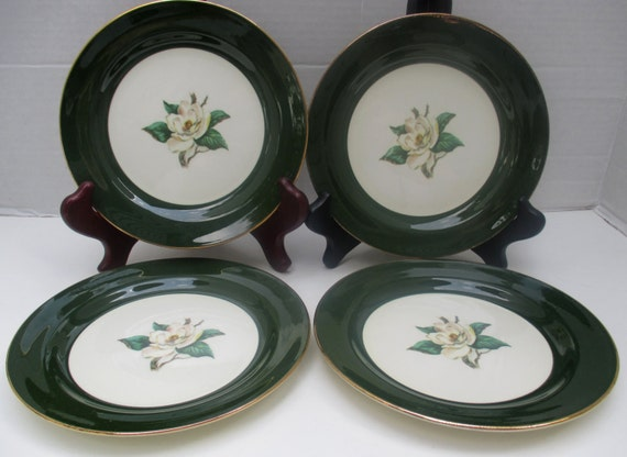 Homer Laughlin Lifetime China Jade Rose Vintage Salad Plates-Set of 4