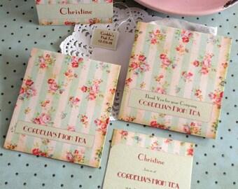 English Rose Set: Tea Bag Favor inc Tea Bag  OR  Invite & Envelope Handmade Set - Bridal Shower High Tea Customized
