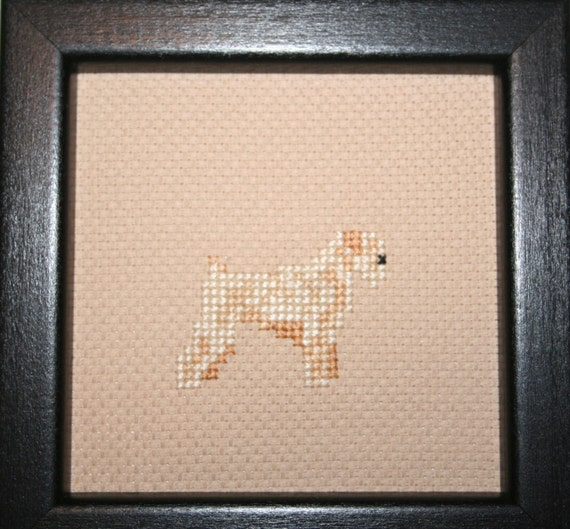 Wheaten Terrier Soft Coated Cross Stitched Full Body Dog.