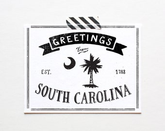 Screenprinted State of South Carolina Postcard