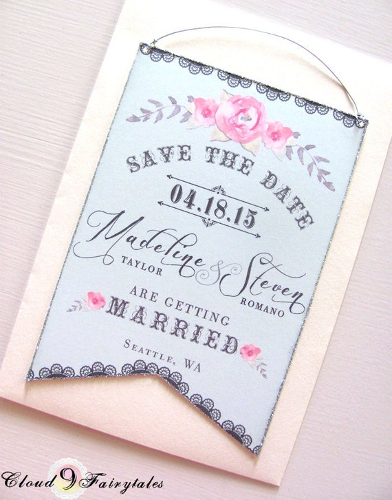 Couture Save the Date Cards Hanging Banner Original Design Wedding Invitation Announcement Blue Gray Pink Silver Glitter Edges
