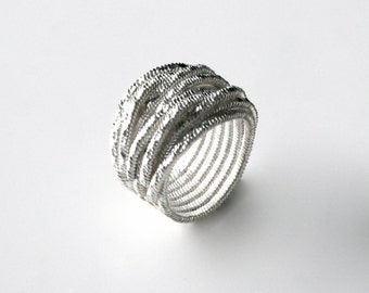 Handmade Solid Sterling Silver Overlapped Wire.  Linked Wrap Ring.
