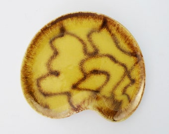 Vintage German Ceramic Dish Yellow Brown Abstract Design