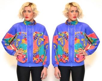 Vintage SILKY WINDBREAKER jacket // womens large PURPLE baroque coat // seashell zip up bomber jacket