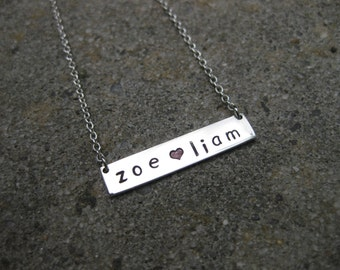 Personalised Sterling Silver Plaque Necklace.