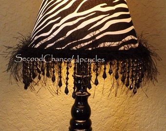 Lamp Black Fringe Beaded Table Lamp Zebra Shade Accent Lamp Teen Girls Room Decor Upcycled Lighting