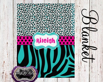 Personalized Leopard and Zebra Blanket