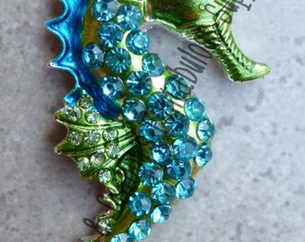 Painted Rhinestone Cute Seahorse Pendant  -   Chunky Necklaces - 53mm x 25mm Blue and Green