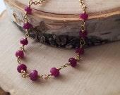 Faceted Ruby Rondel 14k GoldFilled Necklace