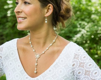 Bridesmaid Gift - White Pearl Necklace - Bridesmaid Jewelry Set - Lariat Necklace - Gift for Wedding Party