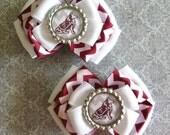 Texas A&M Reveille Inspired Glitter Bottlecap Maroon and White Chevron Ribbon Piggie Bows
